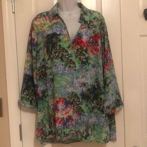 Women's plus colorful tunic blouse 1X Investments